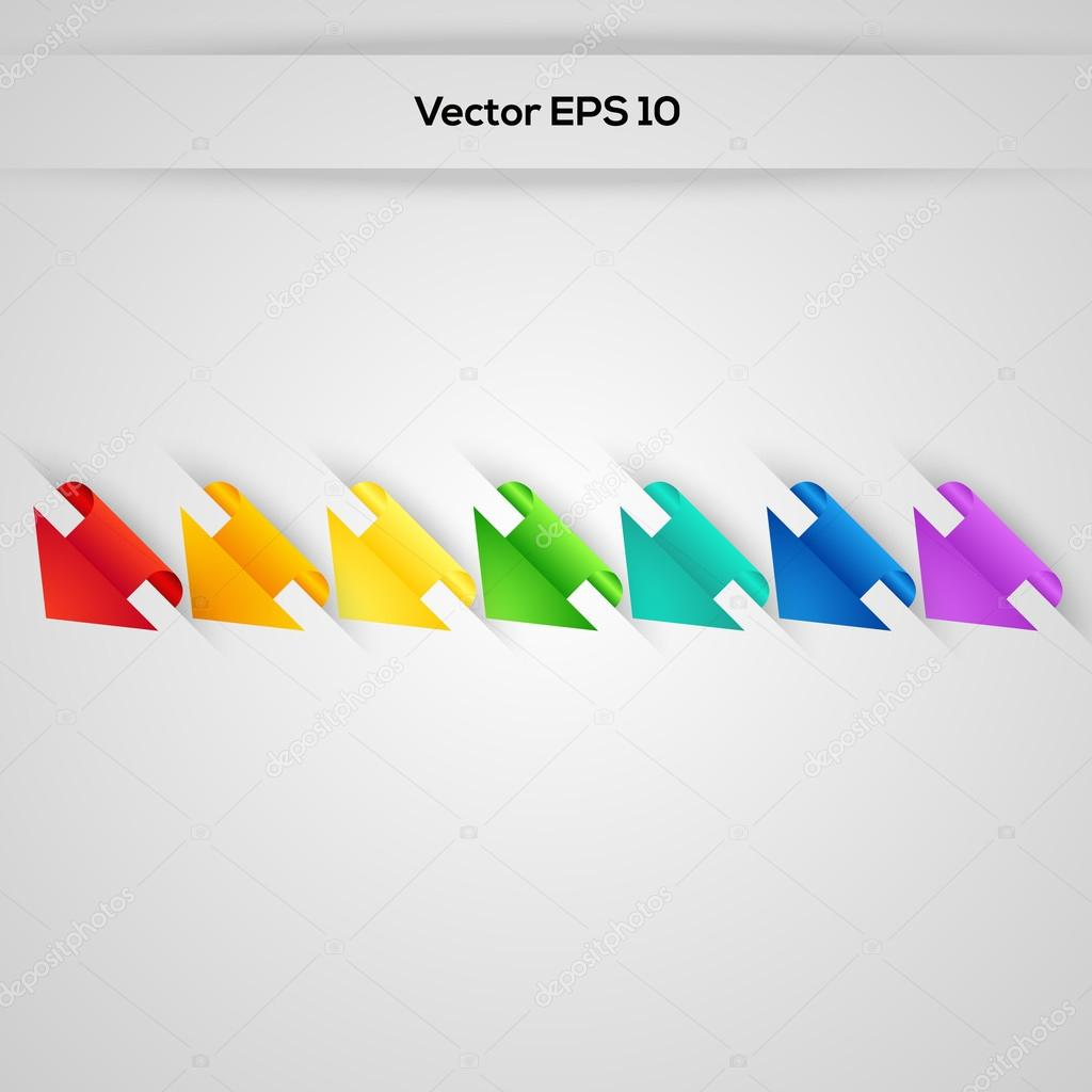 Set vector arrows in the form of paper stickers stock vector