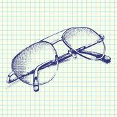 Hand-Drawn Sunglasses Sketchy Notebook Doodles Vector Illustration on Sketchbook Paper Background