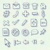 Vázlatos Doodle Web számítógépes Icon Set - vissza a iskola stílus Notebook Doodles vektoros illusztráció látványelemek