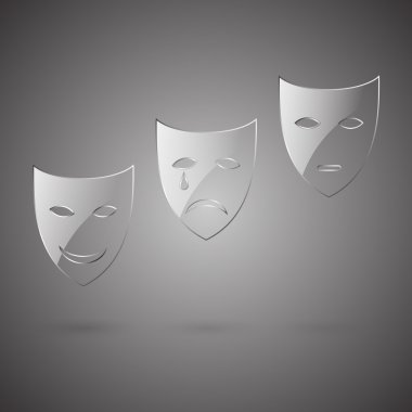 Glass comedy, tragedy & poker face mask stock vector