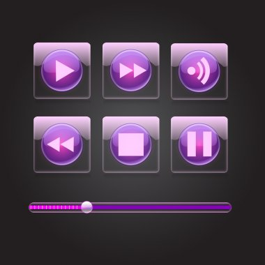 Glossy media buttons. Vector stock vector