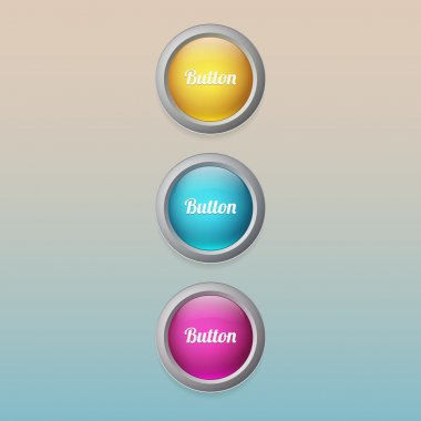 Vector colored buttons, vector illustration stock vector