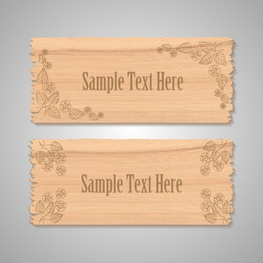 Wooden floral banners vector illustration stock vector