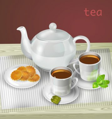 Vector illustration of teapot, cups and cookies stock vector