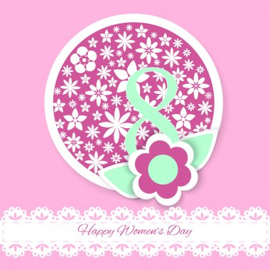 Women's day vector greeting card with flowers stock vector