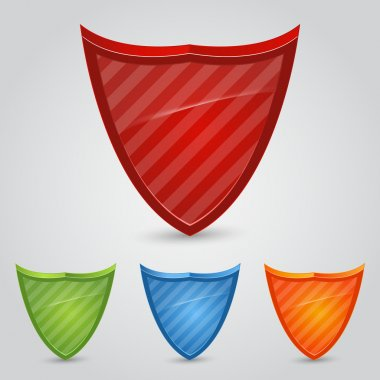 Set of colored shields, vector stock vector