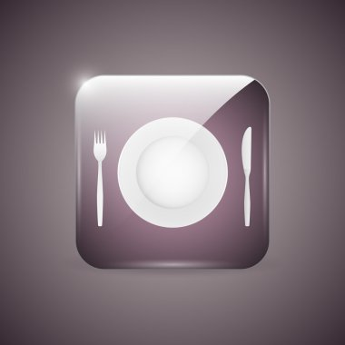 Empty dinner plate, knife and fork icon stock vector