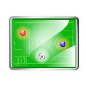 Labdarúgás (foci) field stadionban labdát, vektoros illusztráció