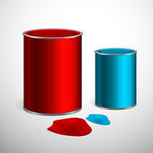 Two buckets of paint: blue, red. Over white. Vector