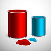 két vödör festék: kék, piros. felett fehér. vektor