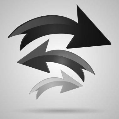 Vector glass arrows. Black glossy arrows icon set. Collection of arrows for design. stock vector