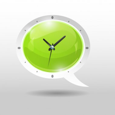 Clock illustration in speech bubble stock vector