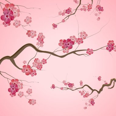 Branches with pink spring flowers stock vector