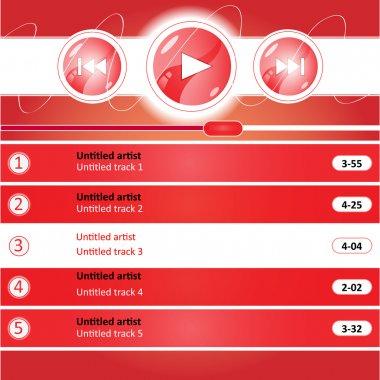 Media player interface design, vector stock vector