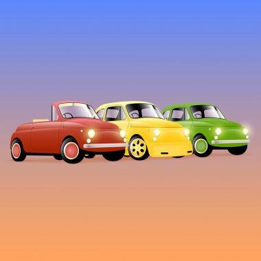 Tuning retro car set, vector