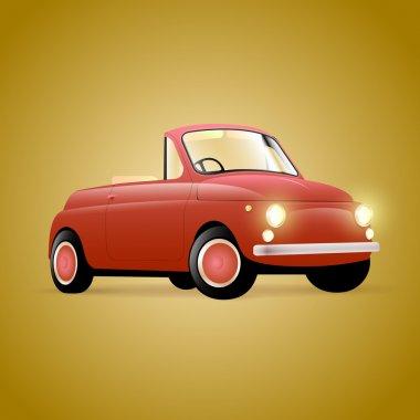 Red retro car, vector
