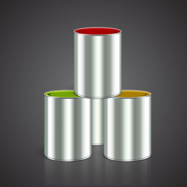 Three buckets of paint: yellow, red, green. Over white. Vector stock vector
