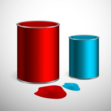 Two buckets of paint: blue, red. Over white. Vector stock vector