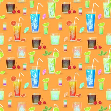 Vector seamless pattern with cocktails stock vector
