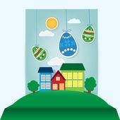 vektorové velikonoční scéna s vejci papíru a dům