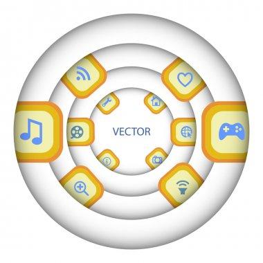 Media player icon set, vector stock vector
