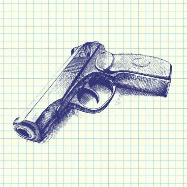 Hand drawn gun, vector stock vector