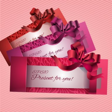 Set of beautiful cards with red gift bows with ribbons. Vector stock vector