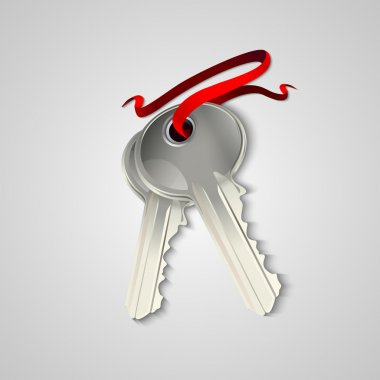 Sheaf of two silver keys with red ribbon. Vector illustration stock vector