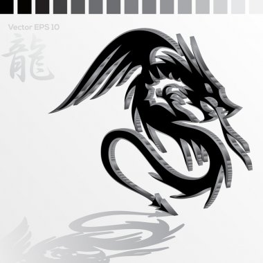 Illustration of black dragon stock vector
