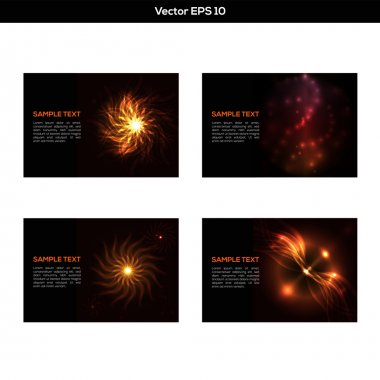 Set of abstract orange backgrounds stock vector