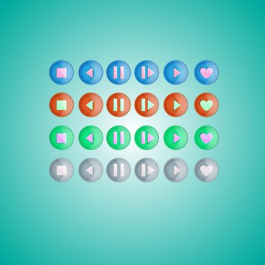 Set of round media player buttons. Vector illustration stock vector
