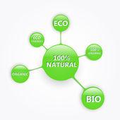 grüne Öko-Tasten für Lebensmittel. Vektorillustration