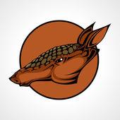 Vector illustration of an armadillo head snapping set inside circle.