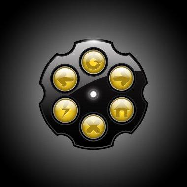 Revolver browser buttons, vector stock vector