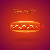 Klasszikus amerikai gyorsétterem - kolbász mustárral, és ketchup