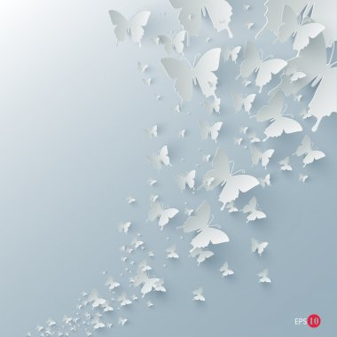 Vector background with paper butterflies stock vector