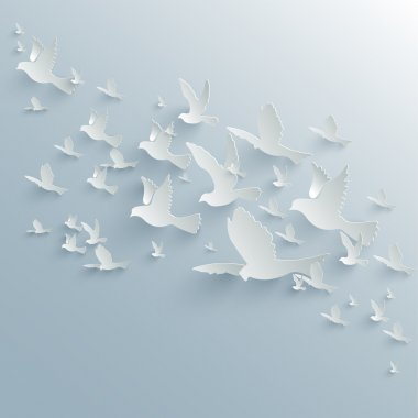 Vector background with paper pigeons