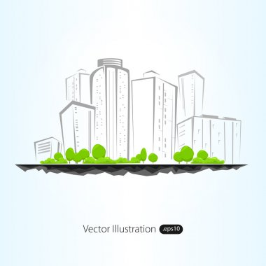 Vector illustration of architectural building with sketch
