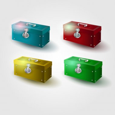 Set of colored chests, vector illustration stock vector