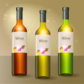 Three wine bottles. Vector.