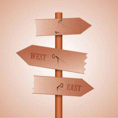 Wooden sign multidirectional, vector stock vector