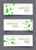 Vector banners with green leaves