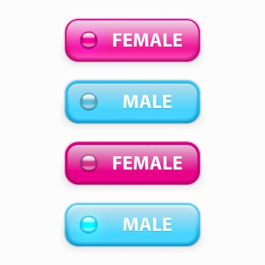 Male and female glossy buttons, vector stock vector
