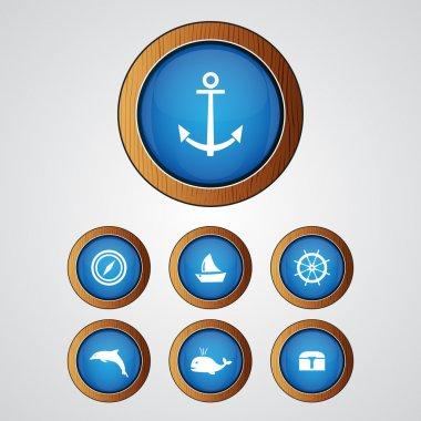 Vector sea icon set stock vector