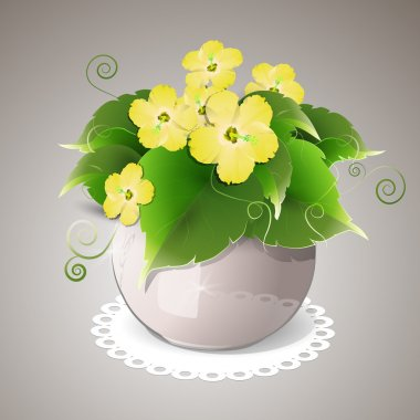 Spring yellow flowers in pot stock vector