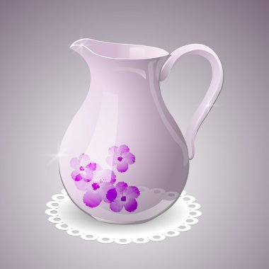 Vector pitcher decorated with flowers stock vector
