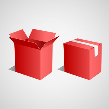 Open and closed red boxes. Vector stock vector