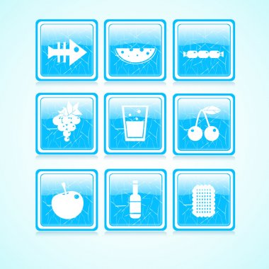 Food icon on square button collection. Vector illustration stock vector