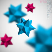 Abstract background with 3d blue and pink figures from pyramids