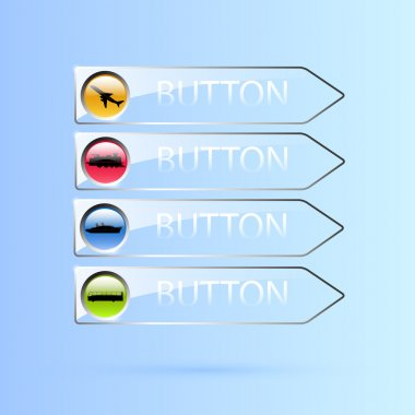 Vector set of glass transport buttons. stock vector
